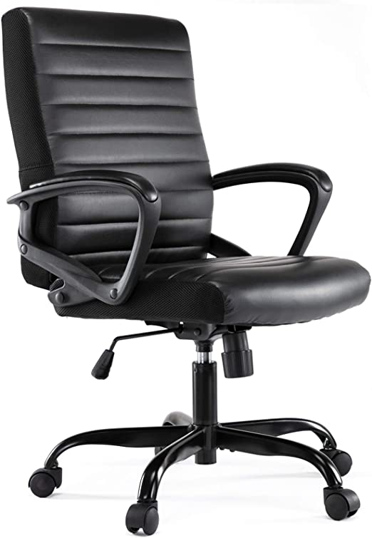 Office Chair Leather Mid Back Home Office Chair Bonded Leather Computer Swivel Task Desk Chair Black Furniture Decor