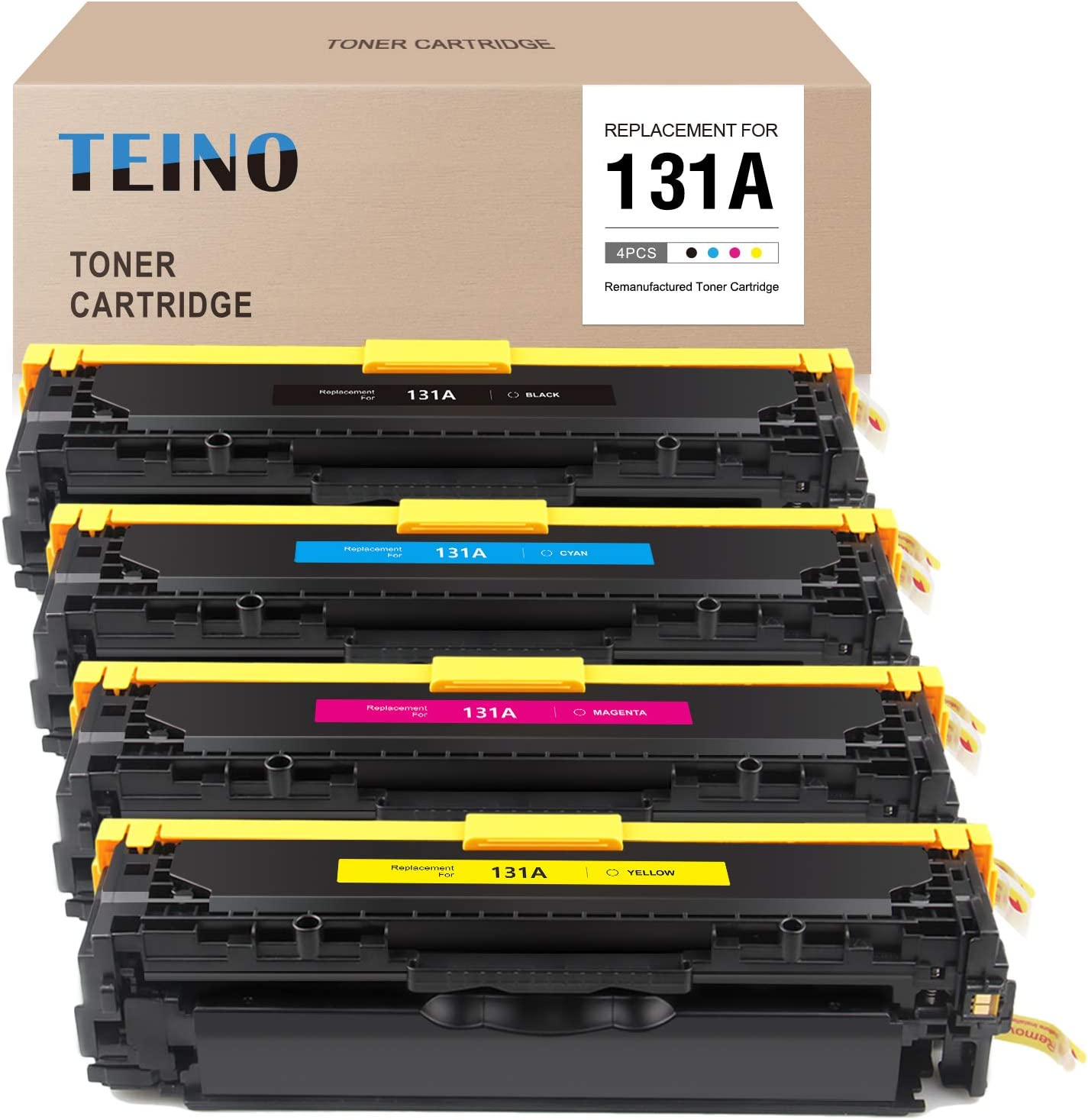 TEINO Remanufactured Toner Cartridge Replacement for HP 131A CF210A CF211A CF212A CF213A for Laserjet Pro 200 Color M251nw M251n MFP M276nw (Black, Cyan, Magenta, Yellow)