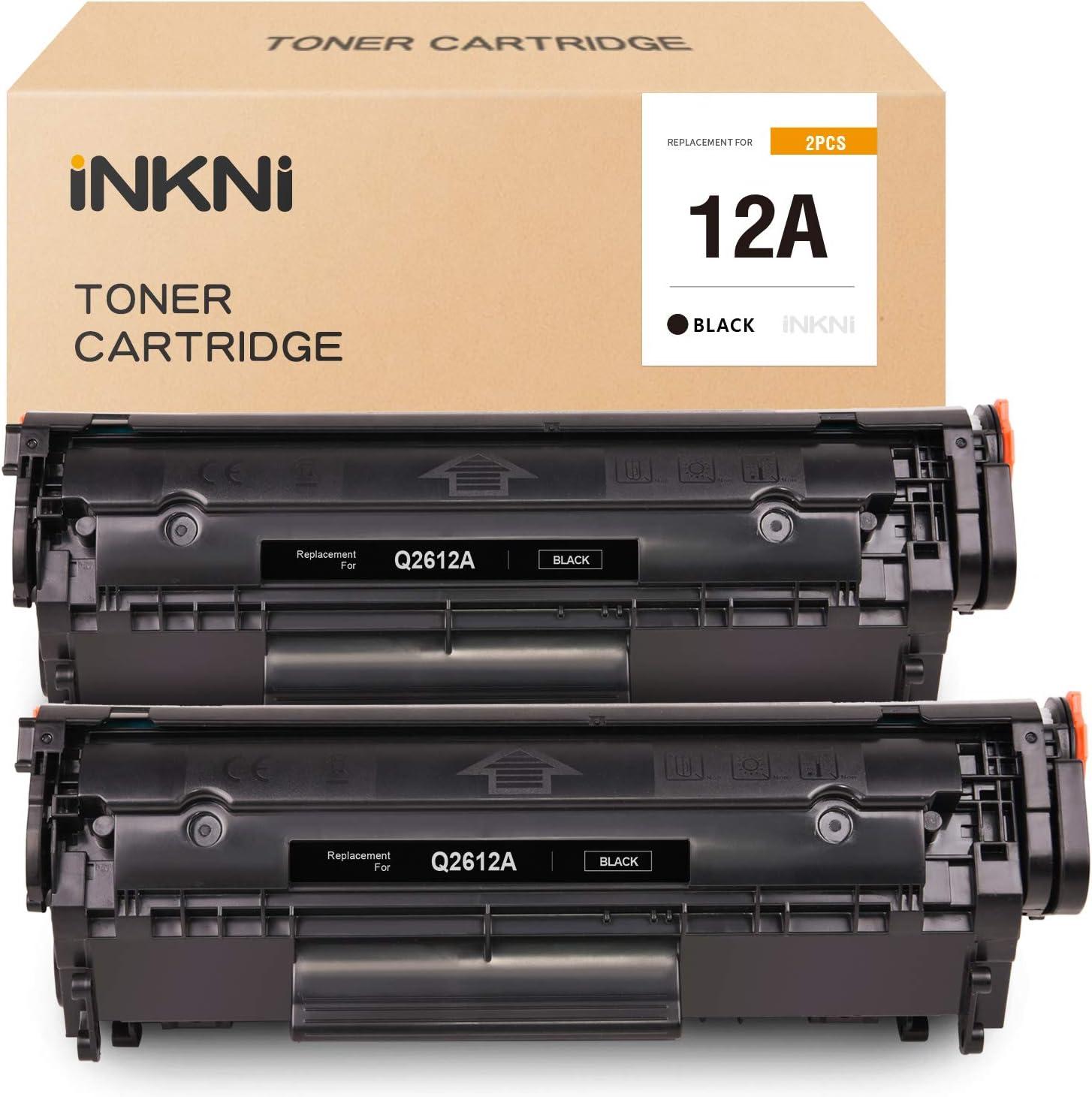 INKNI Compatible Toner Cartridge Replacement for HP 12A Q2612A for HP 1010 1020 3050 1022 1018 3015 1022n 3055 1015 3030 3052 1012 1022nw 3020 3050z M1319 M1319f (Black, 2-Pack)