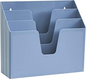 Acrimet Horizontal Triple File Folder Organizer (Solid Blue Color)