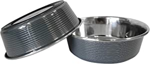 American Pet Supplies Set of 2 Modern Striped Stainless Steel Dog Bowls with Non Skid Rubber Bottom for Puppies and Dogs, 32 oz Each