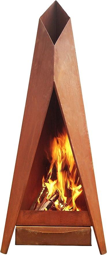 KarmaWorks – Chimenea de jardín XXL de diseño, para terrazas, estufas – Brasero de acero corten de alta calidad con aspecto oxidado, acero inoxidable: Amazon.es: Jardín