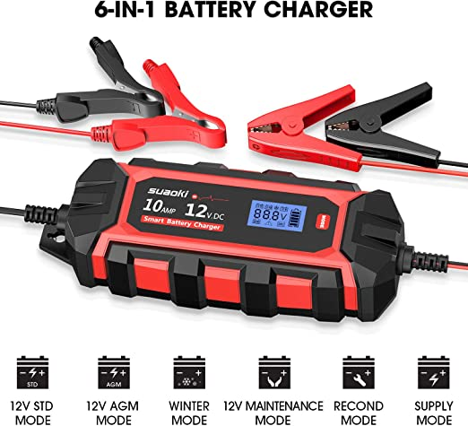 SUAOKI 6A Smart Car Battery Charger IP65 Dustproof Automatic and Portable Battery Maintainer 10 Stages Charging for 12V automobile Truck Boat etc