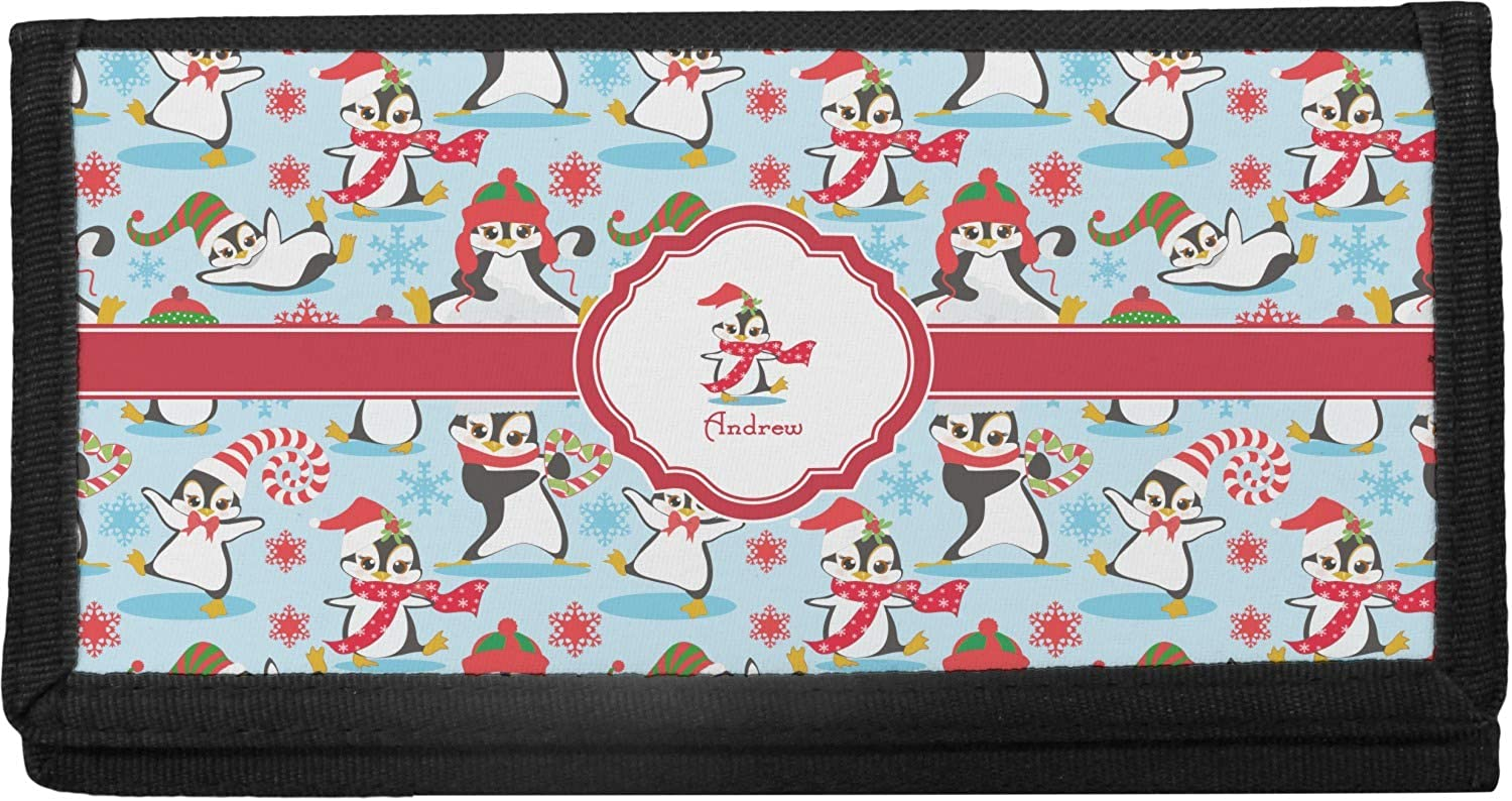 Personalized Christmas Penguins Canvas Checkbook Cover