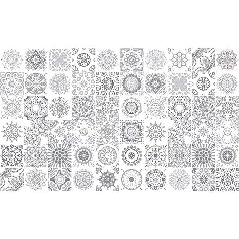 Ambiance-Live 60 Aufkleber Fliesen | Sticker Selbstklebend Fliesen – Mosaik  Fliesen Wandtattoo Badezimmer und Küche | Fliesen Kleber – Nuance-grau – ...