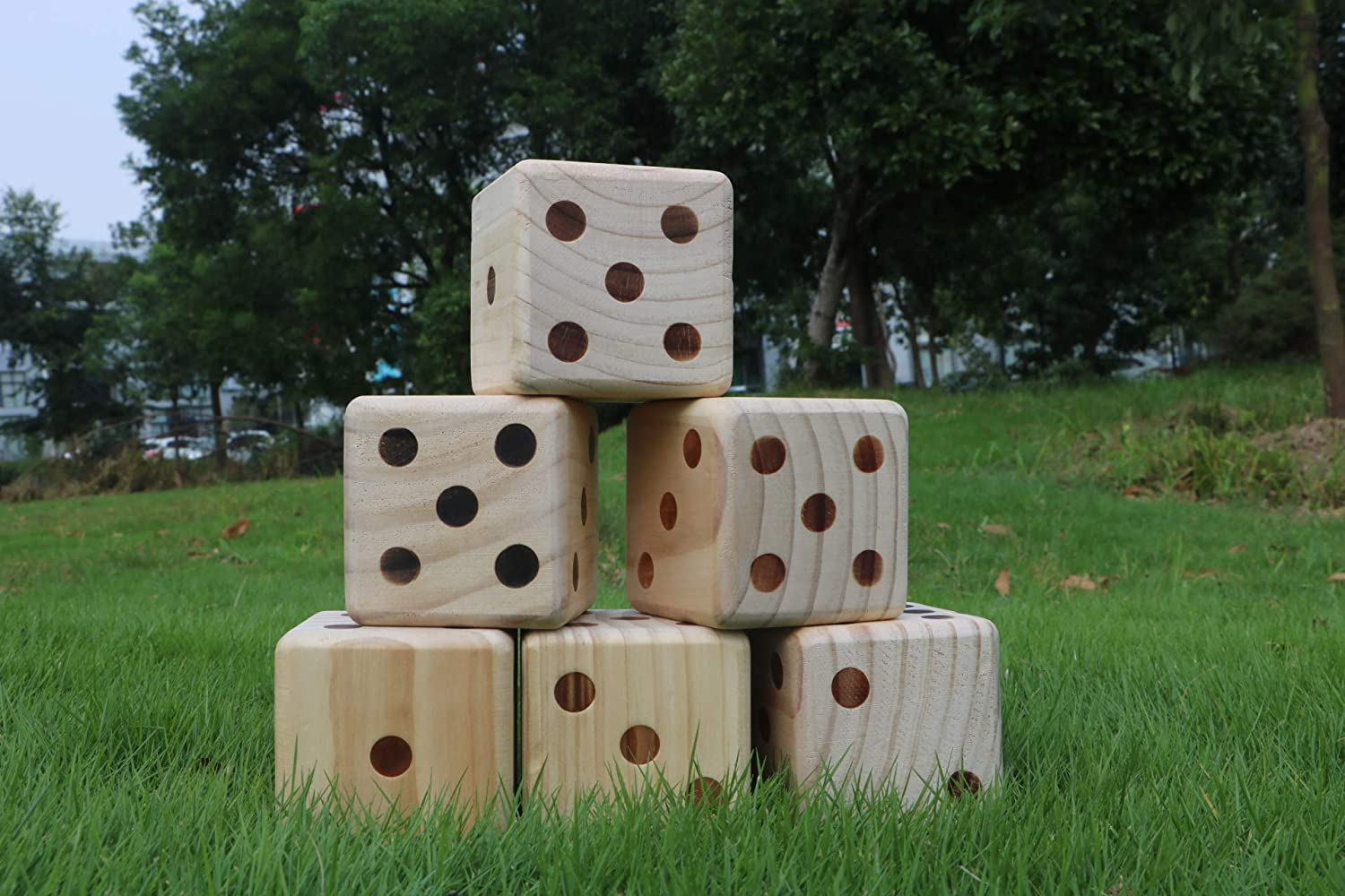 DRAROAD Giant Wooden Yard Dice Outdoor Game with Bonus Yardzee and Farkle Scoresheets and Carrying Bag for All Ages,/Great Lawn and Family Game