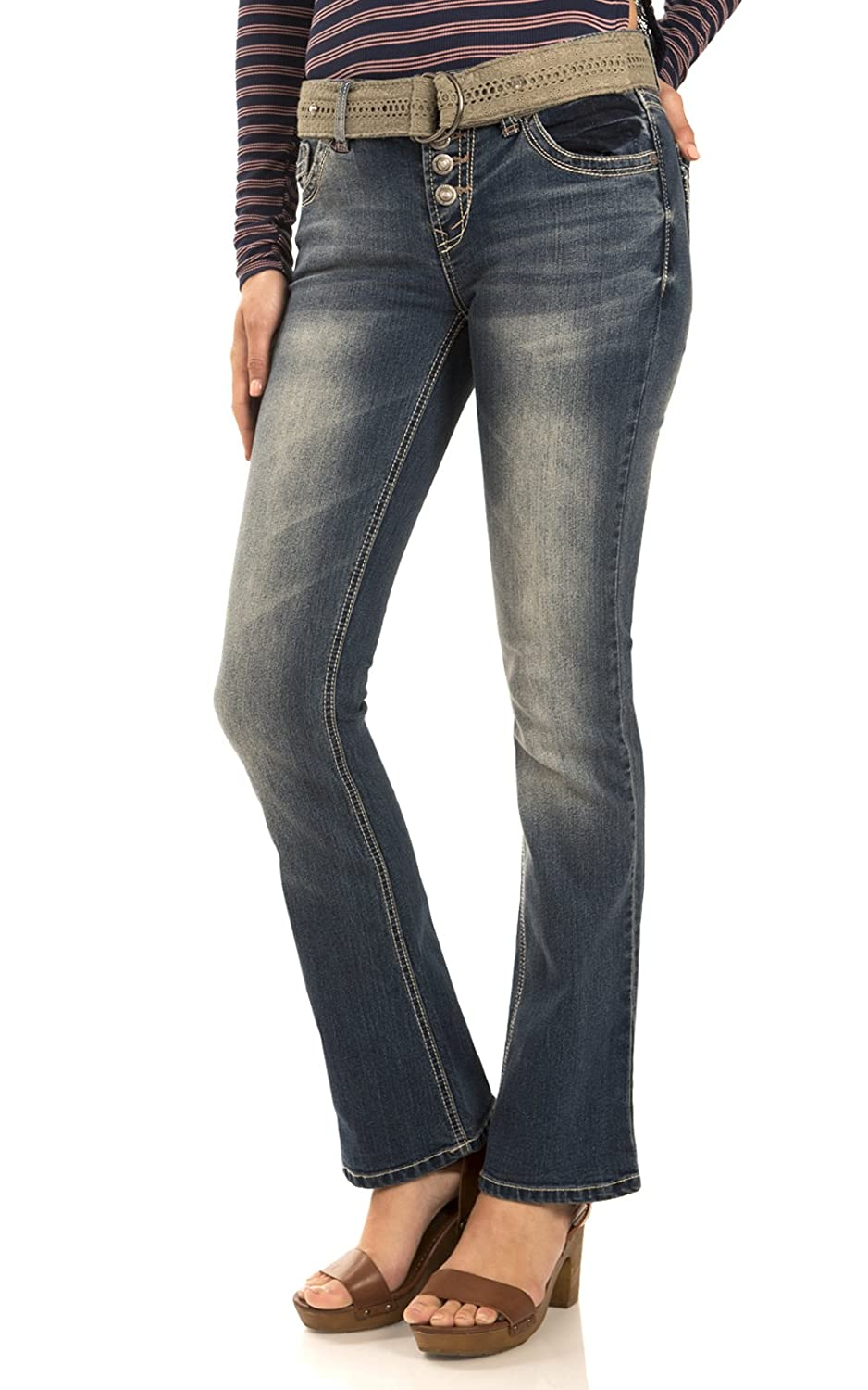 WallFlower Juniors Exposed Button Belted Bootcut Jeans