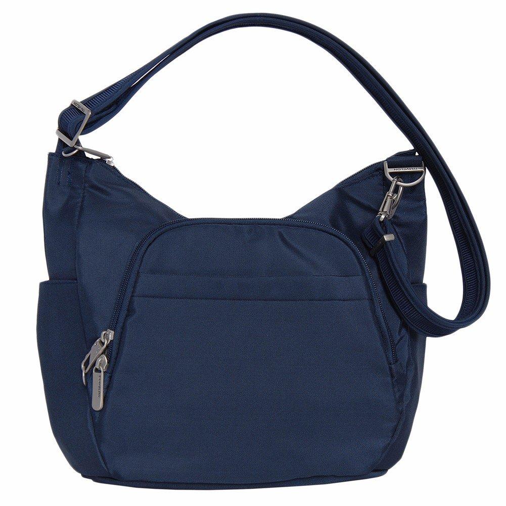 Travelon Anti-Theft Classic Crossbody Bucket Bag (One Size, Midnight w/ Blue Lining)