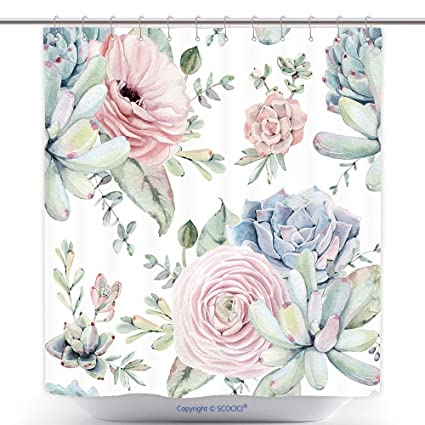 Vanfan Durable Shower Curtains Watercolor Succulents Seamless Pattern Texture Objects Plants Succulent Roses Polyester