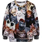 Celewe Women's 3D Cute Cat Print Pullover Sweatshirt Sweater Hoodies