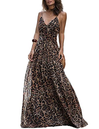8f2efbf70d8 Ao Mo Womens Spaghetti Strap Leopard Maxi Long Dress S Brown at ...