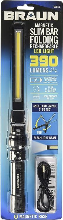 700 Lumen Magnetic Slim Bar Folding Led Worklight Flashlight Cob Light Small New