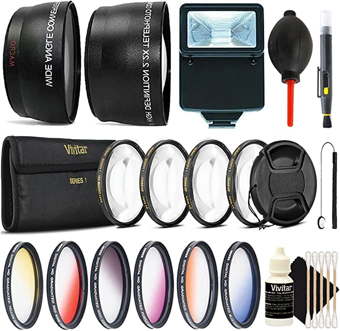Dust Blower Tulip Lens Hood Flash Soft-Light Cover Lens Pen 55mm UV CPL ND Telephoto and Wide Angle Lens 3pc Cleaning Kit