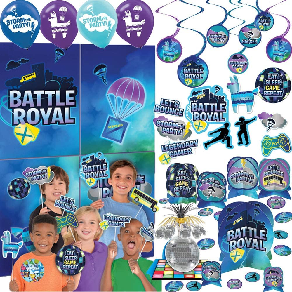 Battle Royal Video Game Birthday Party Decorations Pack With Balloons, Swirls, Cut Outs, Scene Setter and Photo Props, Table Decorating Kit, Disco Ball Table Centerpiece, and Exclusive Video Game Pin