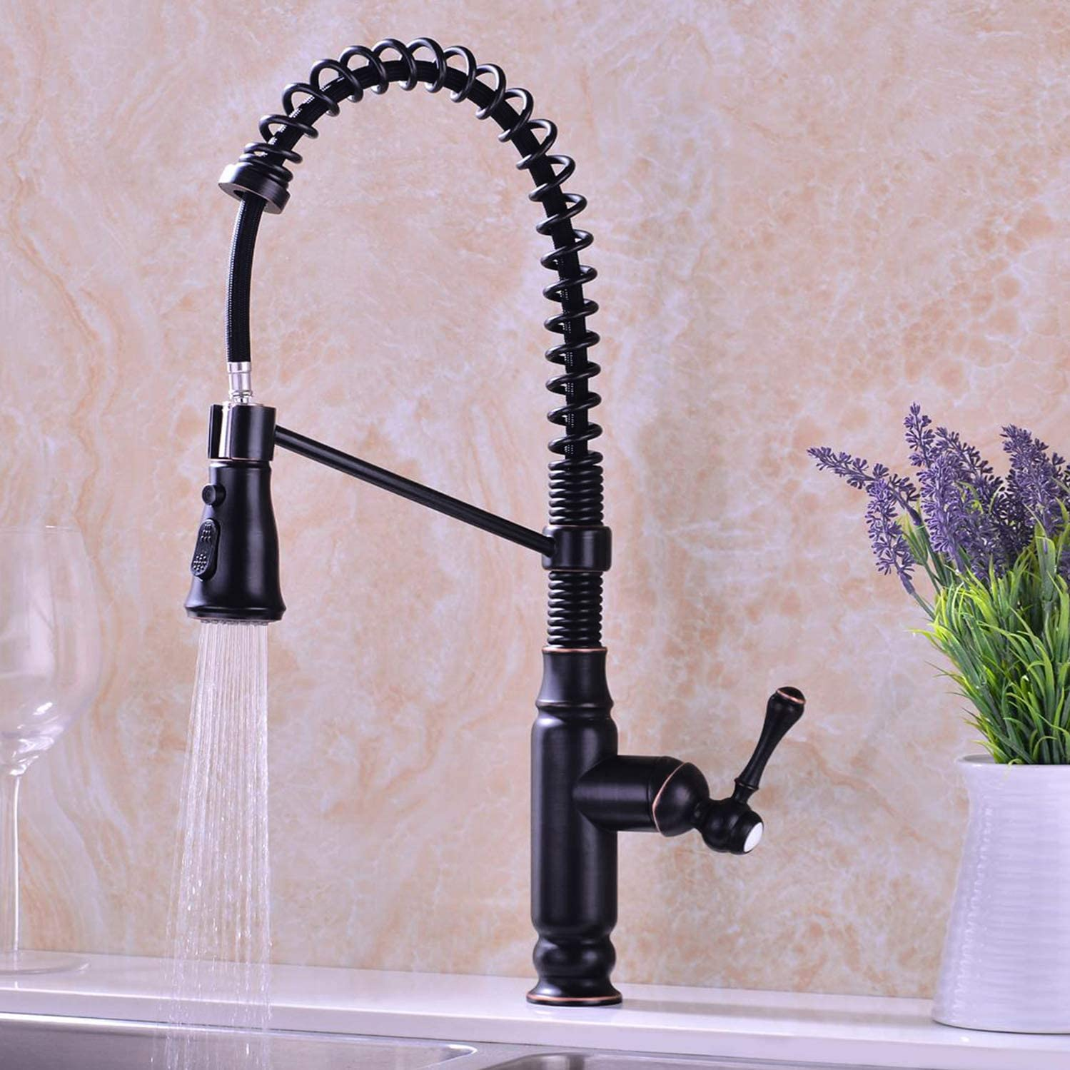 KVADRAT Pull Out Kitchen Faucet Oil Rubbed Bronze Spring Single Handle High Arc Dual Function with Pull Down Spray Head