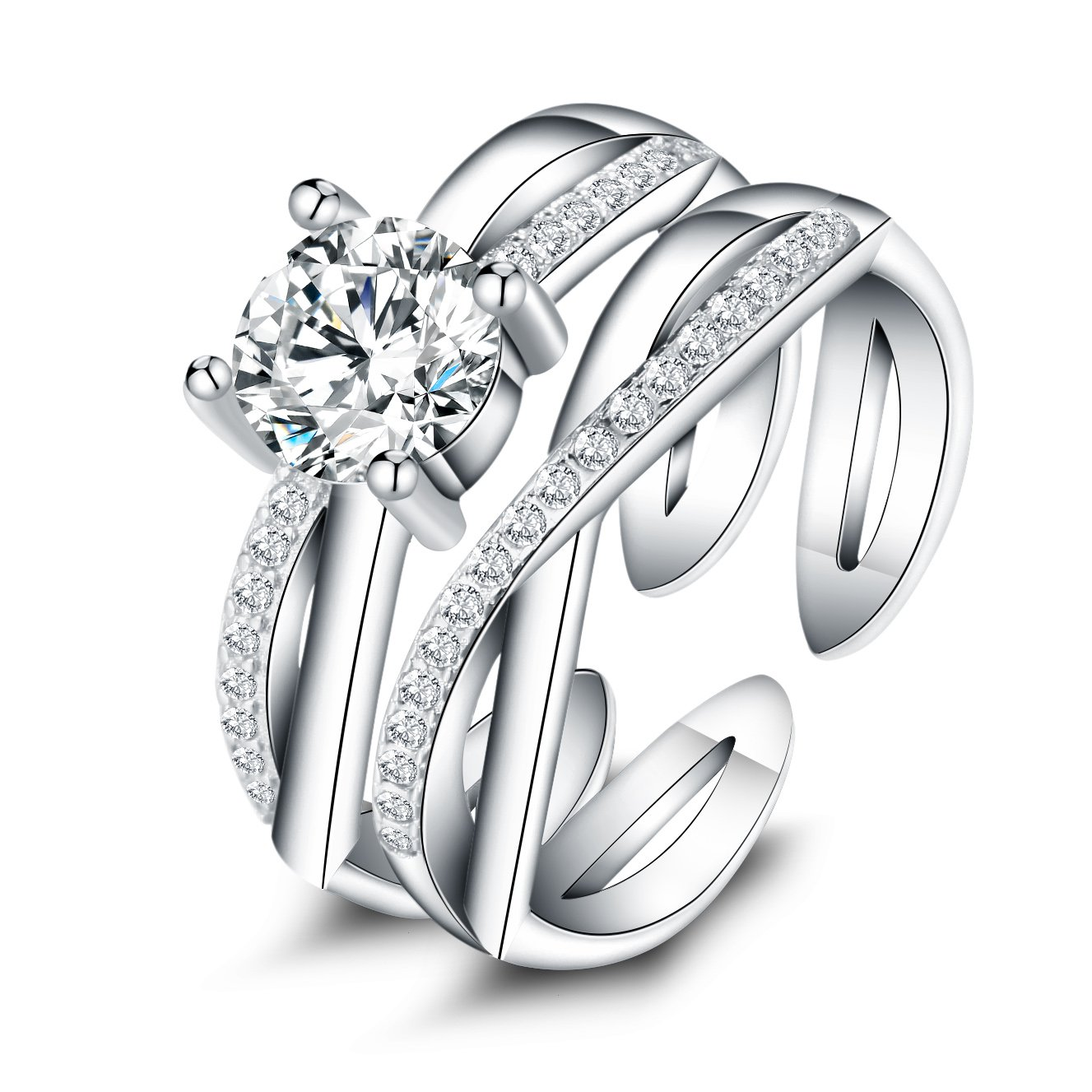 """925 Sterling Silver """"Endless Love""""Round White CZ Wedding Engagement Anniversary Promise Ring (5)"""