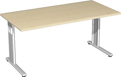 Gera Möbel C Fuß Flex Schreibtisch Holzdekor ahorn/Silber 180 x 80 x 72 cm