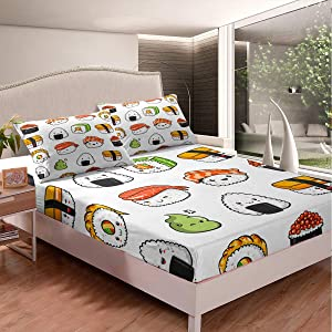 Sushi Pattern Bedding Set Japanese-Style Bed Sheet Set for Kids Boys Girls Teens Food Theme Fitted Sheet Cute Cartoon Japanese Sushi Bed Cover Room Decor Full Size
