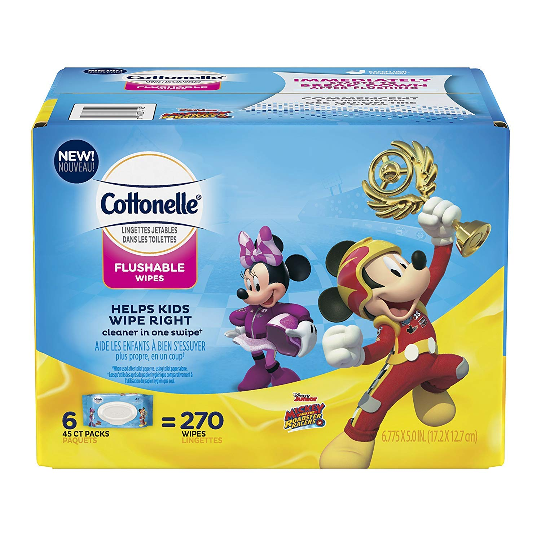 Cottonelle Flushable Toddler Wipes for Kids, 6 Flip-Top Packs, 270 Fragrance-Free Wet Wipes