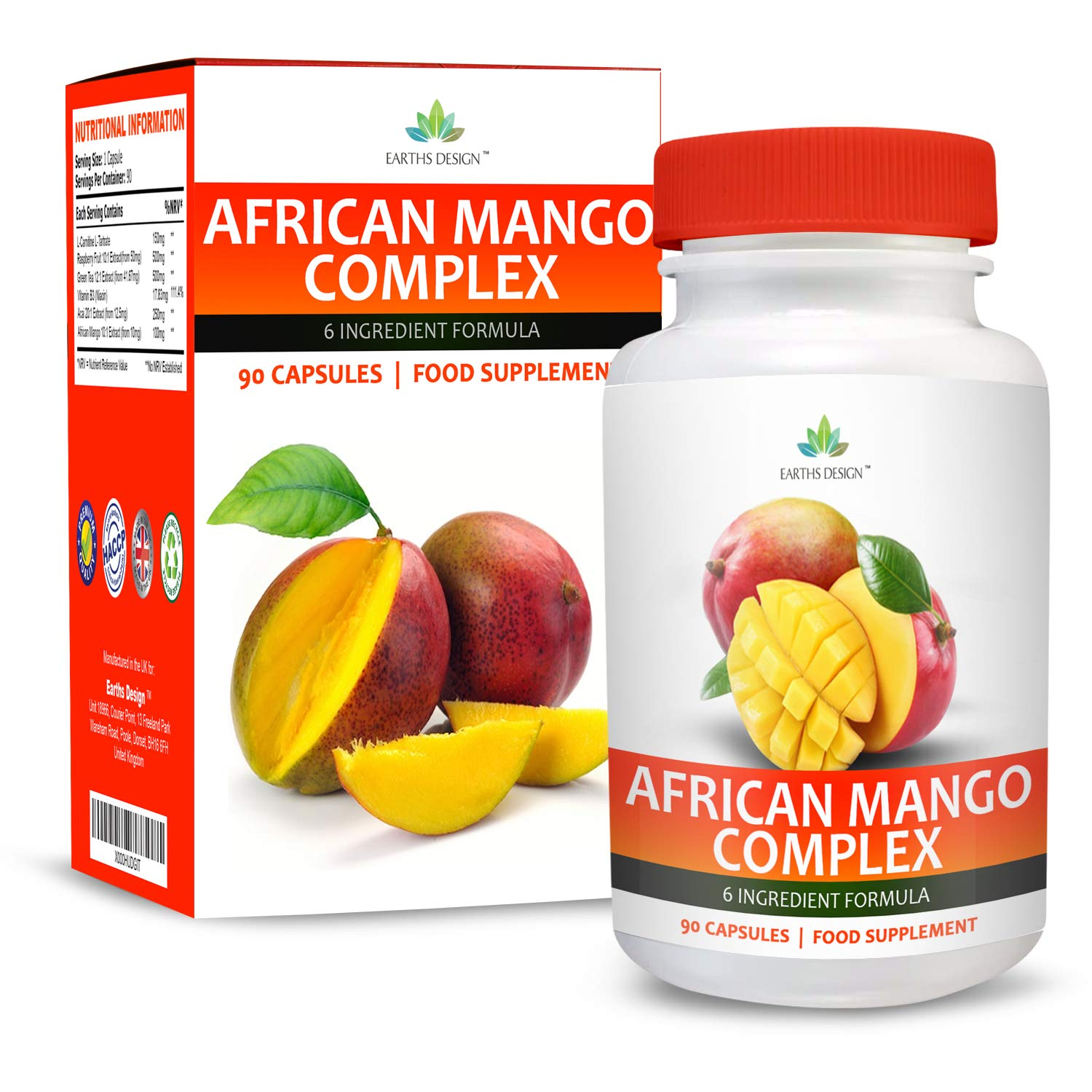 African Mango Complex - 1000mg Extract With Raspberry Ketones, Green Coffee Bean, Capsicum & Glucomannan - Maximum Strength Supplement for Men & Women - Suitable for Vegetarians - 90 Capsules (3 Month Supply) by Earths Design