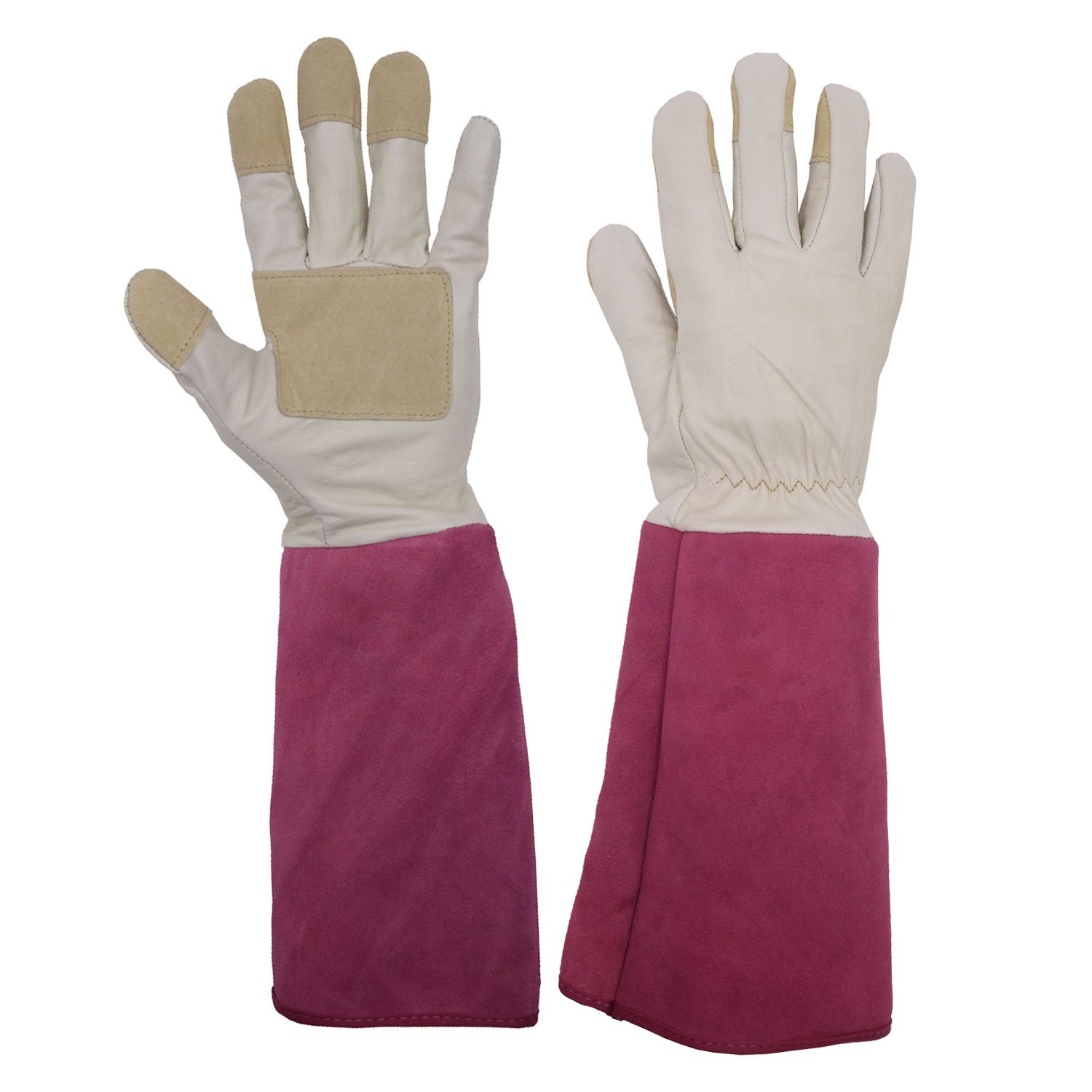 Rose Pruning Gardening Gloves for Men & Women, Thornproof Long Gauntlet Gloves, Pigskin Leather - Breathable & Durability (Medium)