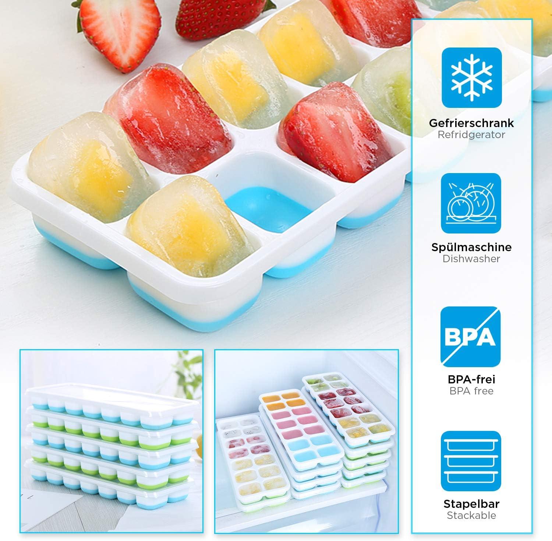 HOT SUMMER Vassoio per Cubetti di Ghiaccio con Coperchio Impilabile Salvaspazio Blu - 2 Pezzi Stampo Vaschetta Ghiaccio senza BPA