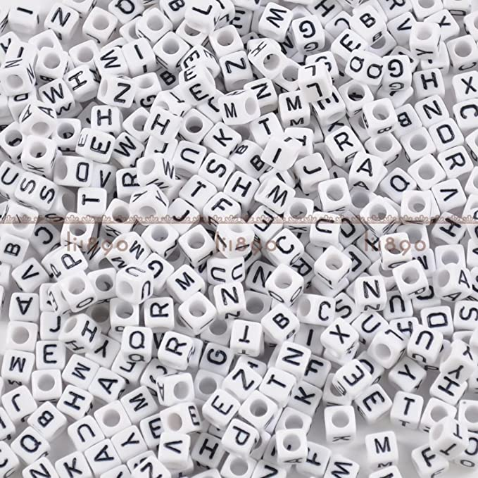 7mm White Alphabet Beads Choose Your Letters or Mixed Packs Single Hole Beads