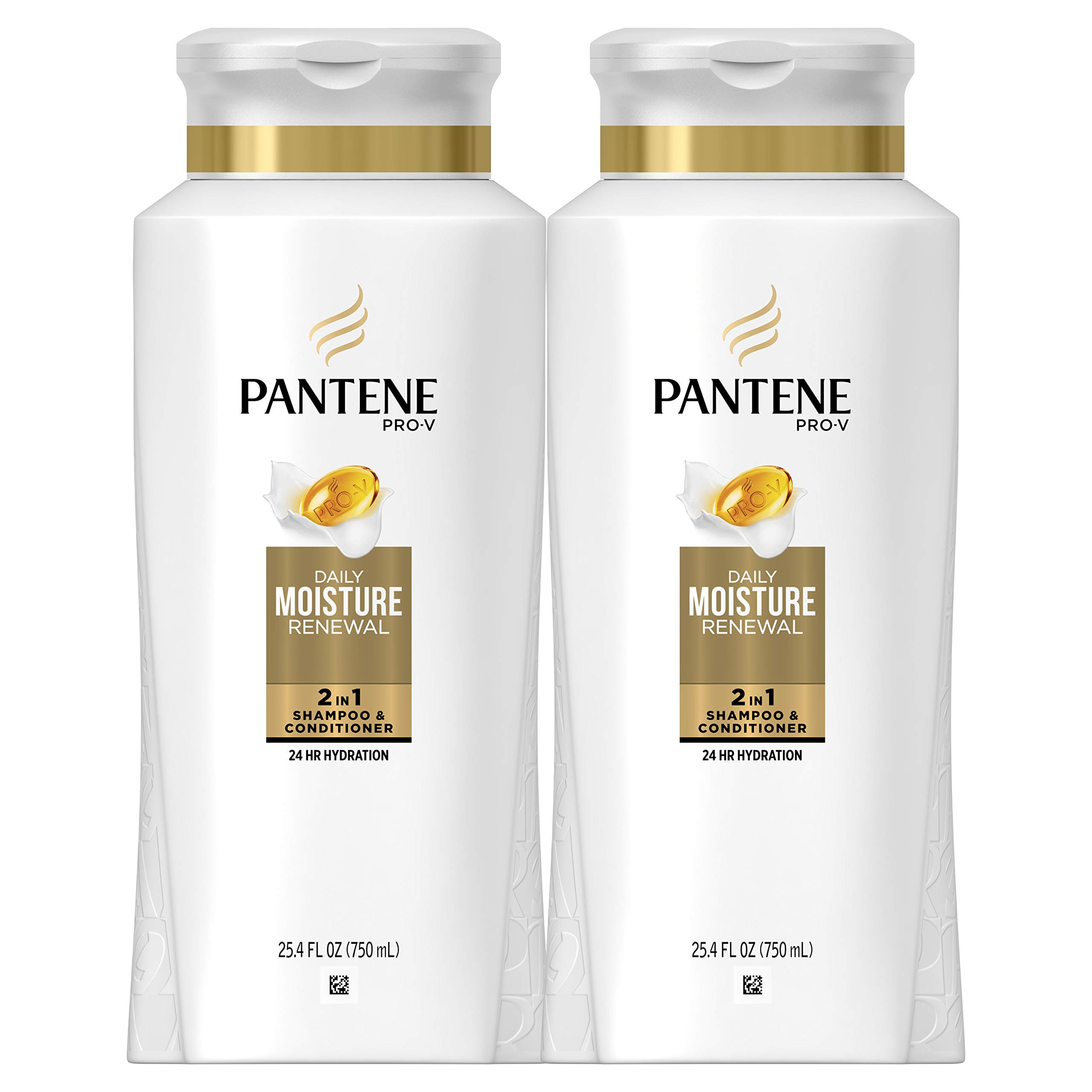 Pantene Shampoo and Conditioner 2 in 1, Pro-V Daily Moisture Renewal for Dry Hair, 25.4 Fl Oz, Pack of 2 by Pantene