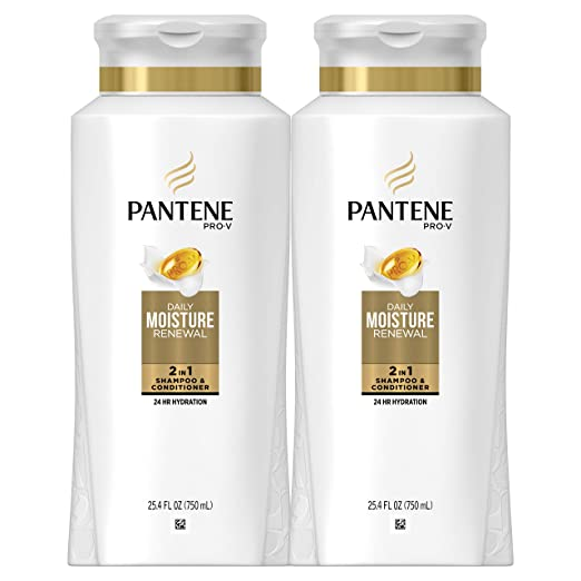 Pantene, Shampoo and Conditioner 2 in 1, Pro-V Daily Moisture Renewal for Dry Hair, 25.4 fl oz, Twin Pack