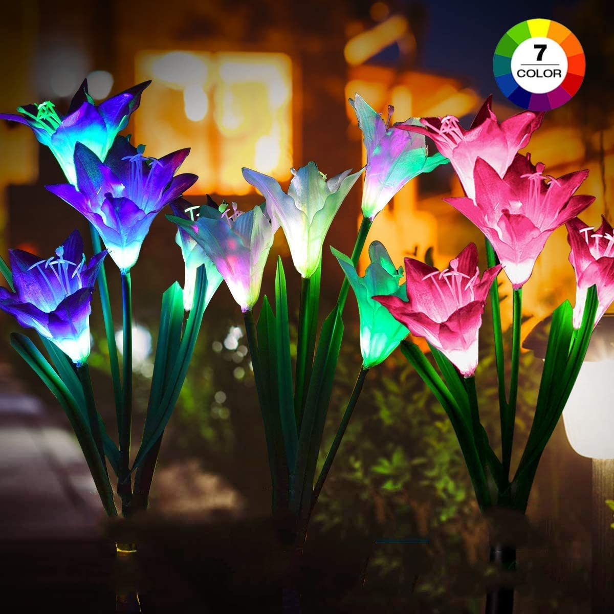 Solar Lights Outdoor – New Upgraded 3 Pack Solar Powered Garden Lights, Multi-Color Changing Lily Solar Flower Lights for Patio,Yard Decoration