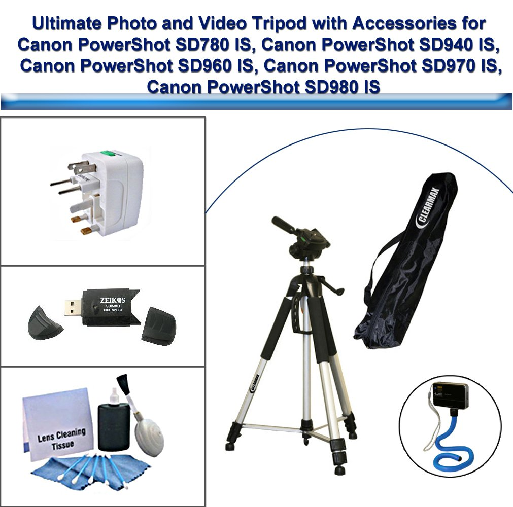 Ultimate Photo and Video Tripod with Flexible Monopod, Universal Adapter, Deluxe 5PC Lens Cleaning Kit and USB FlashCard Reader for Canon PowerShot SD780 IS, Canon PowerShot SD940 IS, Canon PowerShot SD960 IS, Canon PowerShot SD970 IS, Canon PowerShot SD9