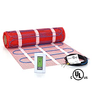30 sqft Mat Kit, 120V Electric Radiant Floor Heat Heating System w/Aube Programmable Floor Sensing Thermostat