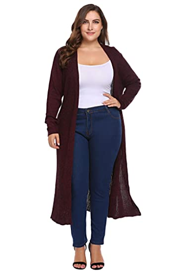 7519ce7be97 Zeagoo Women Plus Size Long Sleeve Open Front Knitted Maxi Cardigan Sweater