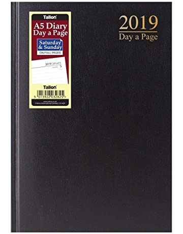 1a09a5db6a46 2019 A5 Hardback Day a Page Full Saturday   Sunday Pages Desk Diary (Black)