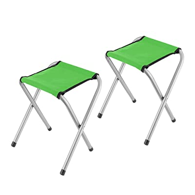 "YongTong 2-Pack Folding Camping Stool, Lightweight Portable Sturdy Camping Chair for Outdoor Picnic Fishing Hiking and Backpacking, Compact Traveling Little Stool ( 11.8""x9.8""x15.7"" ), Green : Sports & Outdoors"
