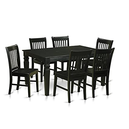 7 piece dinette set overstock east west furniture weno7blkw piece dinette table and chairs set amazoncom