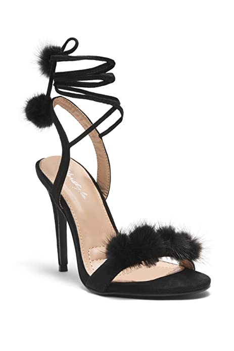 ddfcdcc6ae8f0 Herstyle Women's Elissee Faux Pom-Poms Accents, Ankle lace-up,Stiletto Heel