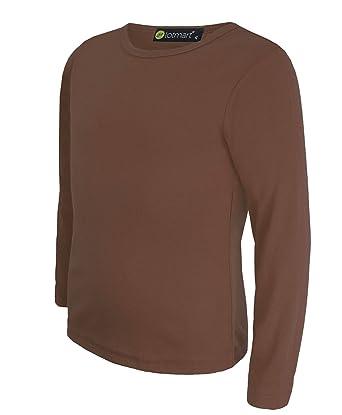 eb892145bfe0b LotMart pour Enfants uni Haut Basique Manches Longues Filles T-Shirt Garçon  Haut col Rond