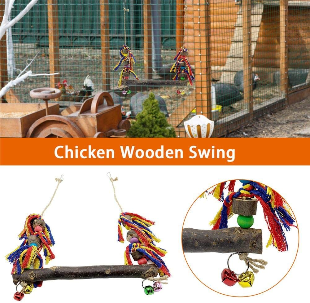 Chicken Swing for Hens and Toys Chicken Swing Natural Wooden Chicken Toy for Hens Handmade Bird Swing Bird Toy for Large Bird Parrot Hens Macaw Trainning