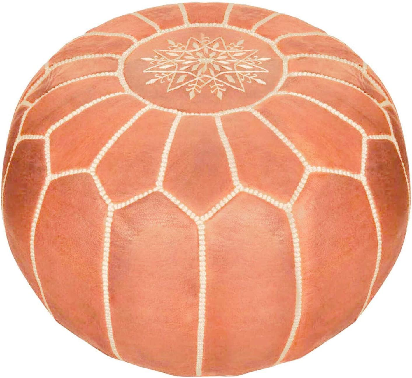 Moroccan Leather Pouf - Handmade Leather Pouffe - Luxury Tan Pouf - Ottoman Footstool Hassock - 100% Real Natural Goat Leather - Unstuffed