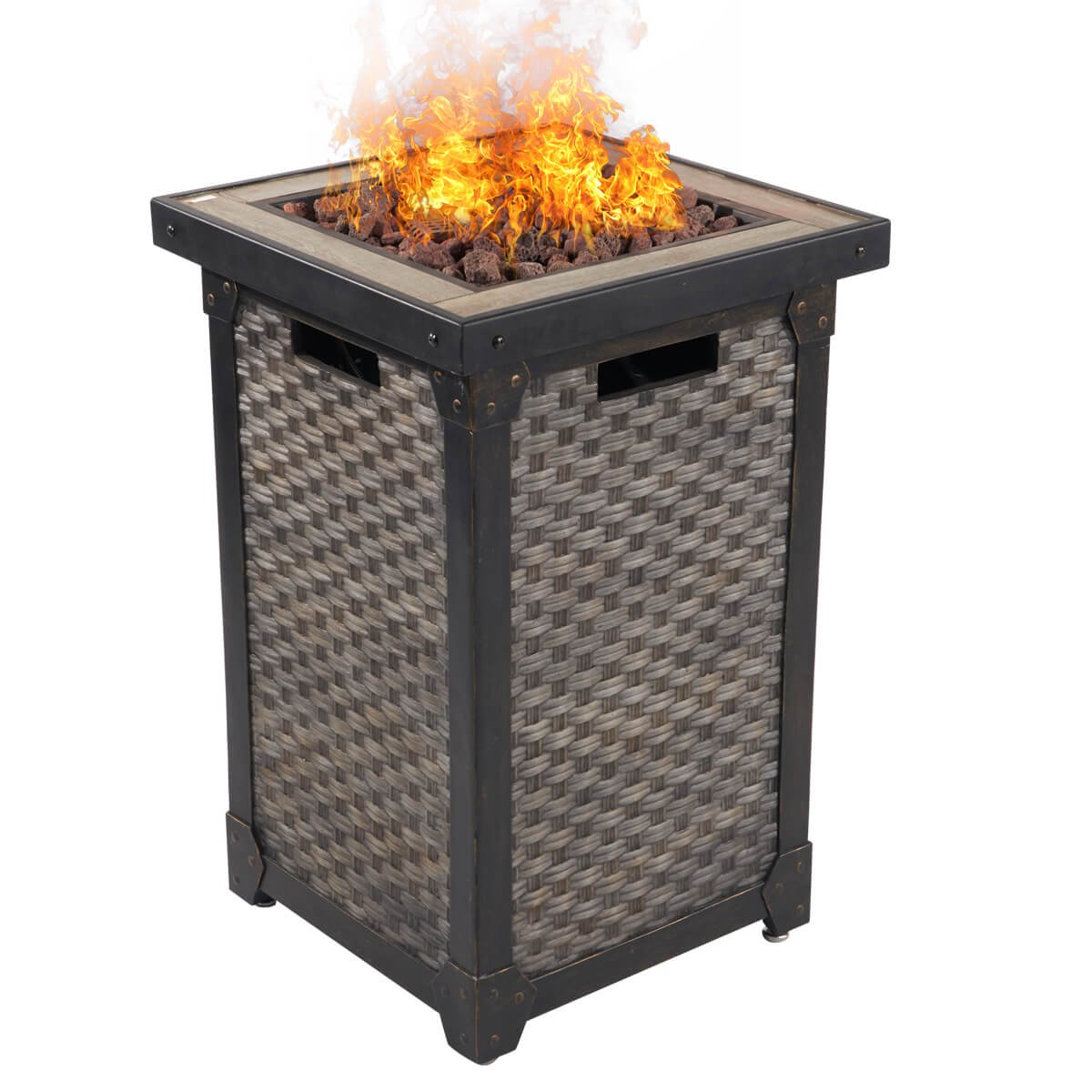 "Dian 29"" Outdoor Patio Gas Fire Pit Wicker Propane Gas Fire Table with Lava Rocks 30,000 BTU Auto Ignition with Safety Push Button HE9995"