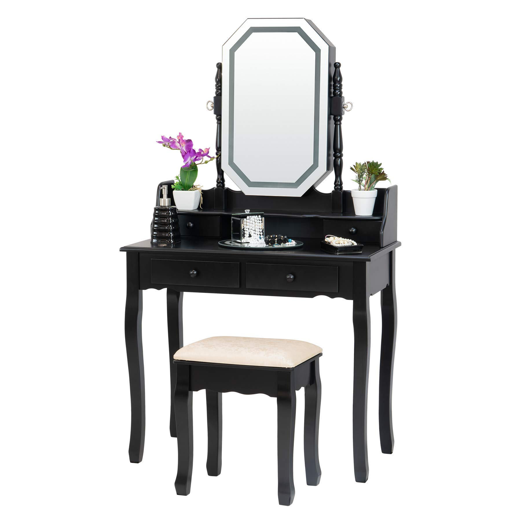 Fineboard FB-VT20-BK LED Lights Vanity Table Set with Stool, Mirror and 4 Drawers, Black