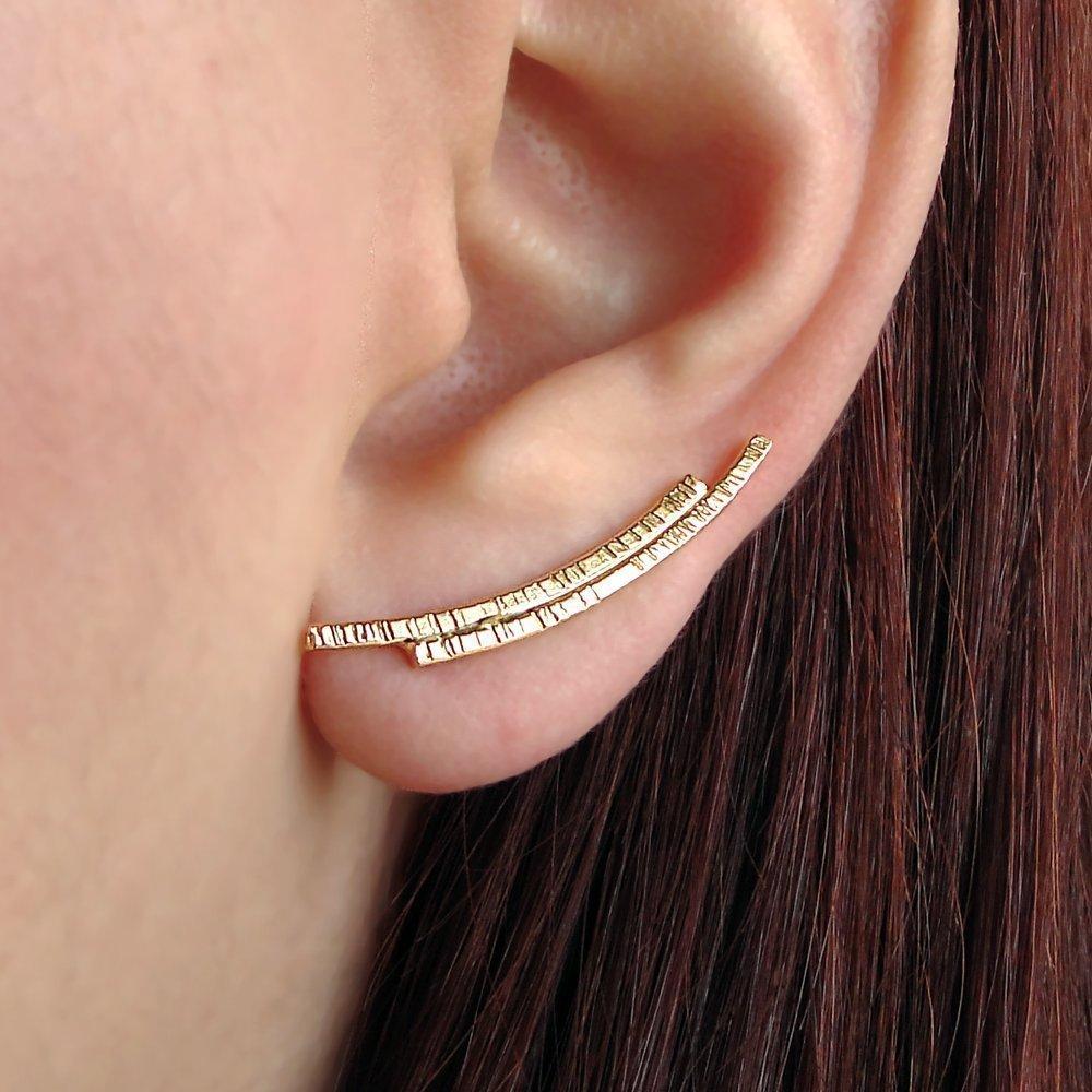 Sterling silver ear climber earrings, gift minimalist jewelry, hypoallergenic ear cuff earrings, silver ear cuffs by Emmanuela