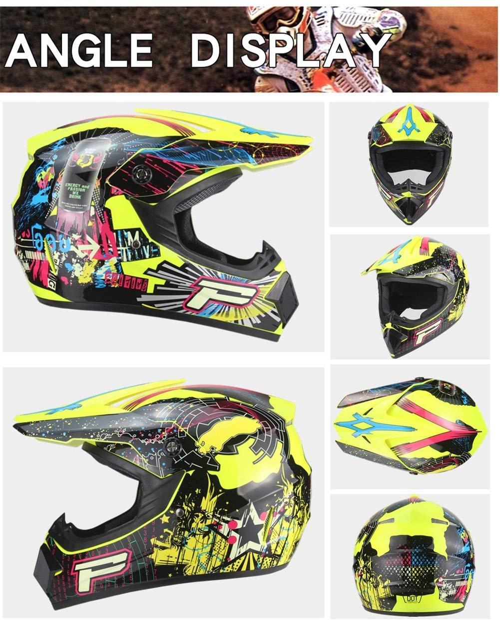casco da bicicletta, MIBDF Casco da moto guanti, occhiali, maschere, set da 3 pezzi verde, M casco da corsa -4PCS casco da motocross