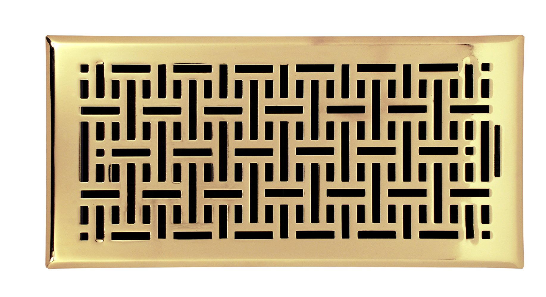 Accord Ventilation AMFRPBB614 Wicker Design Floor Register, Polished Brass, 6'' x 14'', Gold
