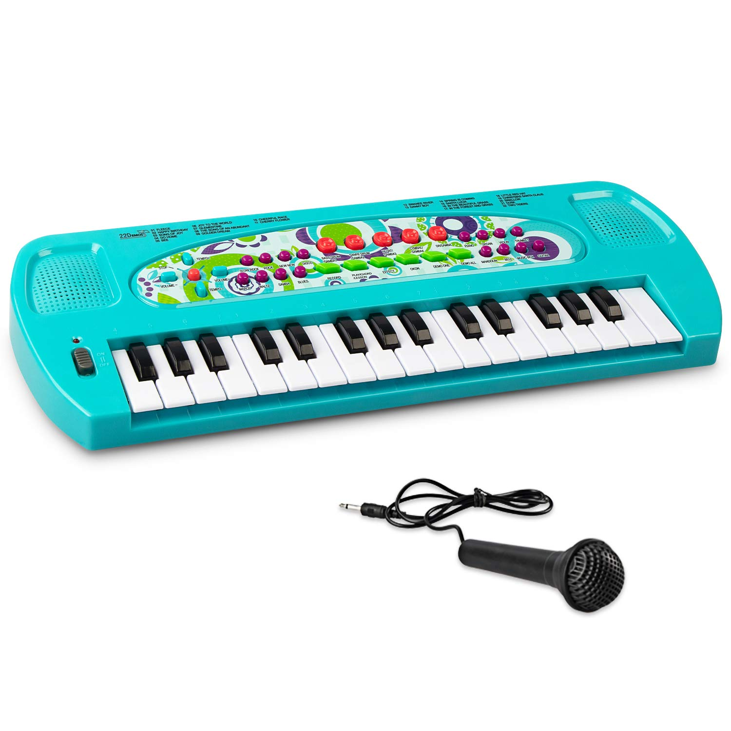 SAOCOOL Piano Keyboard, 32 Keys Multifunction Electronic Kids Toy Piano keyboard Music child piano keyboard for toddler with Microphone (Blue) by SAOCOOL