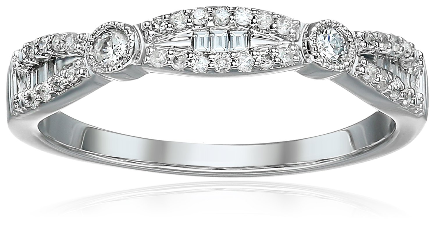 10k White Gold Round and Baguette Diamond Fashion Band With Milgrain (1/5cttw, I Color, I3 Clarity), Size 7