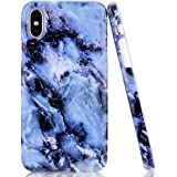 iPhone XR Case, EUNSOUL [Blue White Marble Design] Clear Thin Slim Fit Soft Glossy Flexible TPU Protective Shockproof Bumper Phone Case Cover for Apple iPhone XR (2018) - 6.1''