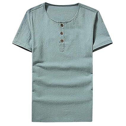 Camiseta Hombres, ❤ Manadlian Camisa sólida para hombres Personalidad Casual Delgado Manga corta O