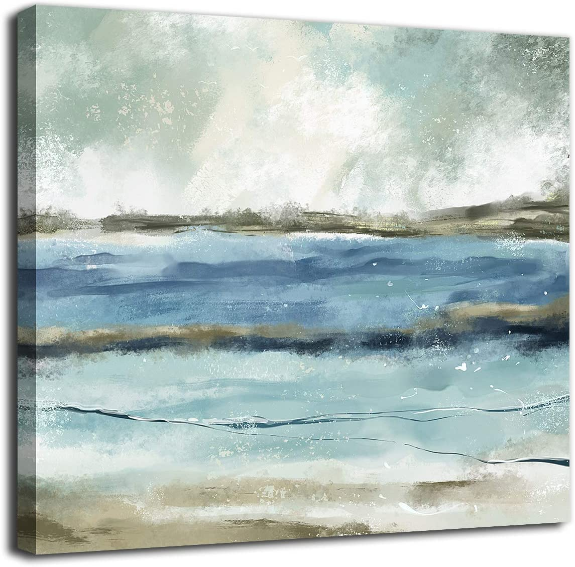 Abstract Ocean Wall Art Grey Canvas Art Modern Canvas Pictures Contemporary Canvas Artwork for Bedroom Living Room Bathroom Kitchen Office Home Wall Decor Framed Ready to Hang 24